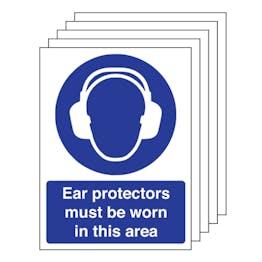 5PK - Ear Protectors Must Be Worn - Portrait