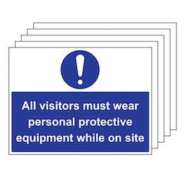 5PK - All Visitors Must Wear PPE - Large Landscape