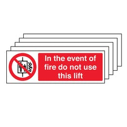 5PK - In The Event Of Fire Do Not Use This Lift - Landscape