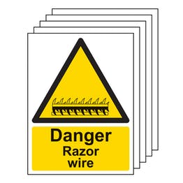 5PK - Danger Razor Wire - Portrait