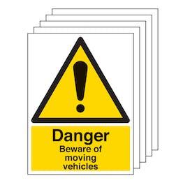 5PK - Danger Beware Of Moving Vehicles