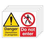 5PK - Danger Demolition/Do Not Enter - Large Landscape
