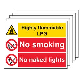 5PK - Highly Flammable LPG/No Smoking/Naked Lights