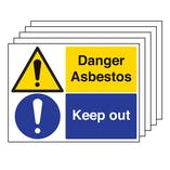 5PK - Danger Asbestos/Keep Out - Large Landscape