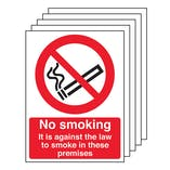 5-Pack No Smoking Signs