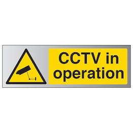 CCTV In Operation - Landscape - Aluminium Effect