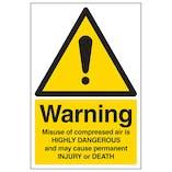 Warning Compressed Air Danger Of Death - Portrait