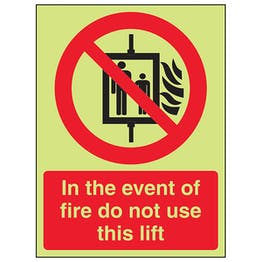 GITD In The Event Of Fire Do Not Use This Lift - Portrait