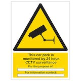 This Car Park Is Monitored by 24 Hour CCTV - Portrait