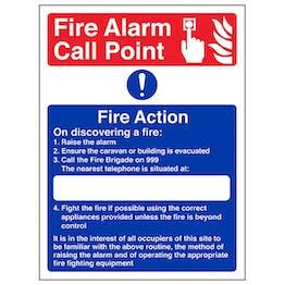 Caravan Site Fire Action - On Discovering A Fire - Polycarbonate