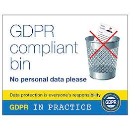 GDPR Sticker - GDPR Compliant Bin - No Personal Data