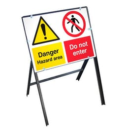 Danger Hazard Area Sign with Stanchion Frame
