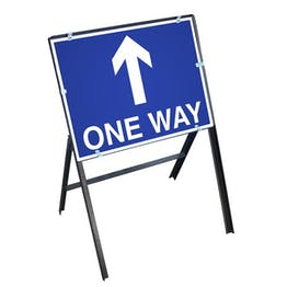 One Way Sign with Stanchion Frame