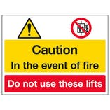 Caution In The Event of Fire / Do Not Use Lifts