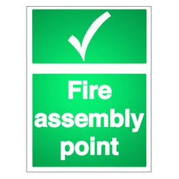Reflective Fire Assembly Point with Tick - Portrait