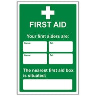 Your First Aiders Are - Your Nearest First Aid Box