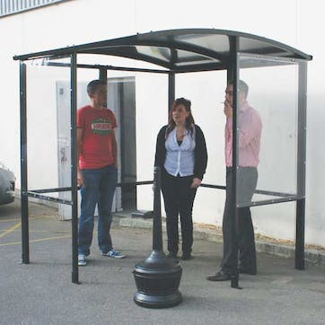 Steel Half-Frame 4-Sided Smoking Shelter - Aluminum Roof