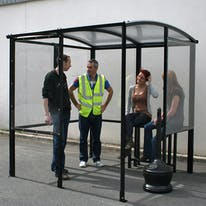 Steel Half-Frame 4-Sided Smoking Shelter - Clear Roof