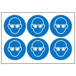 Eye Protection Vinyl Labels On A Sheet