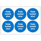Keep Locked Shut Vinyl Labels On A Sheet