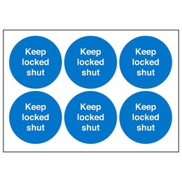 Keep Locked Shut Vinyl Labels On A Sheet