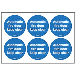 Automatic Fire Door Keep Clear Vinyl Labels On A Sheet