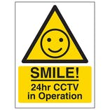 Warning - SMILE! 24hr CCTV in Operation