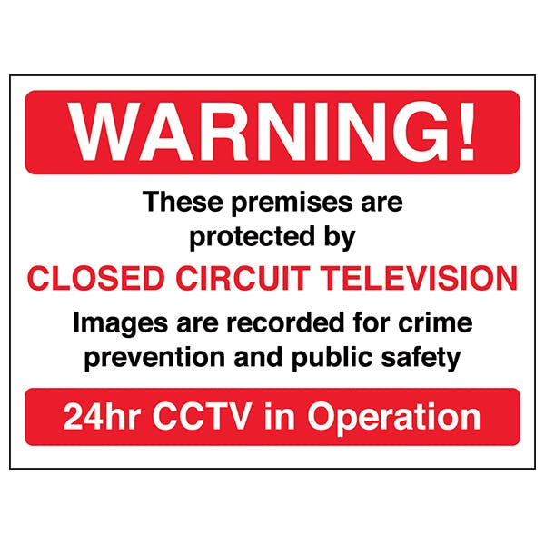 Warning! These Premises Are Protected By CCTV - Red - Window Sticker