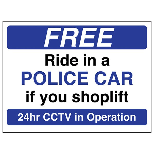 Free Ride In A Police Car If You Shoplift - Blue - Window Sticker