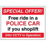 Free Ride In A Police Car If You Shoplift - Red - Window Sticker