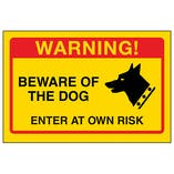 Yellow Beware Of The Dog, Enter At Own Risk