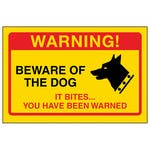 Yellow Beware Of The Dog, It Bites...