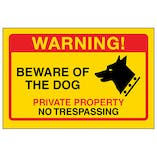 Yellow Beware Of The Dog, Private Property