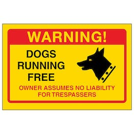 Yellow Dogs Running Free, Owner No Liabilty