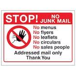 Stop! No Junk Mail - No Menus, No Flyers, No Circulars, No Sales...