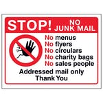 Stop! No Junk Mail, No Menus, No...Addressed Mail, Thank You