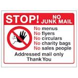 Stop! No Junk Mail, No Menus, No...Addressed Mail, Thank You