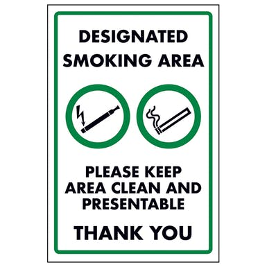 Designated Smoking area Please Keep Area Clean and Presentable Thank you
