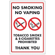 No Smoking No Vaping Tobacco Smoke & E-Cigarettes Prohibited Thank You