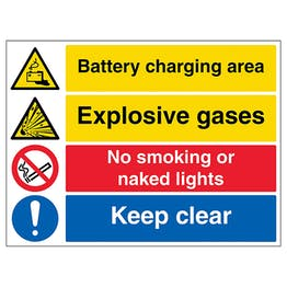 Battery Charging / Explosive / No Smoking / Keep Clear