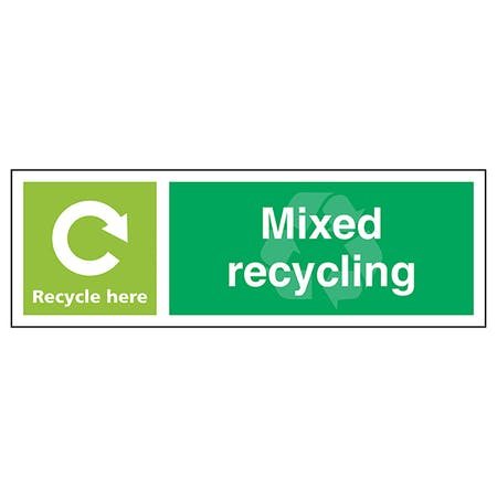 Mixed Recycling Recycle Here - Landscape