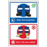 Wear Foot Protection / Don't Risk Your Safety! Poster