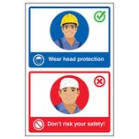 Wear Head Protection / Don't Risk Your Safety! Poster