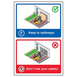 Keep To Walkways / Don't Risk Your Safety! Poster