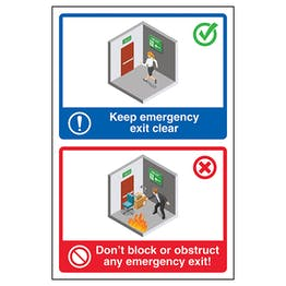 Keep Emergency Exit Clear / Don't Block...Exit Poster