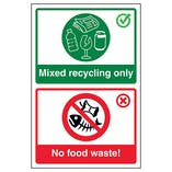 Mixed Recycling Only / No Food Waste! Poster