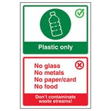 Plastic Only / Don't Contaminate Waste Streams! Poster