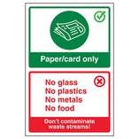 Paper/Card Only / Don't Contaminate Waste Streams! Poster
