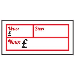 Was £ / Size / Now £ Labels On A Roll