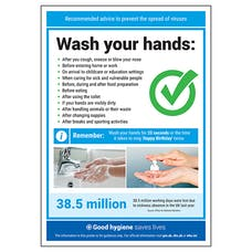 Wash Your Hands Green Tick Poster